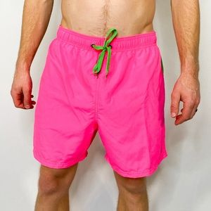 BODY GLOVE Neon Pink/Green Drawstring Swim Trunks